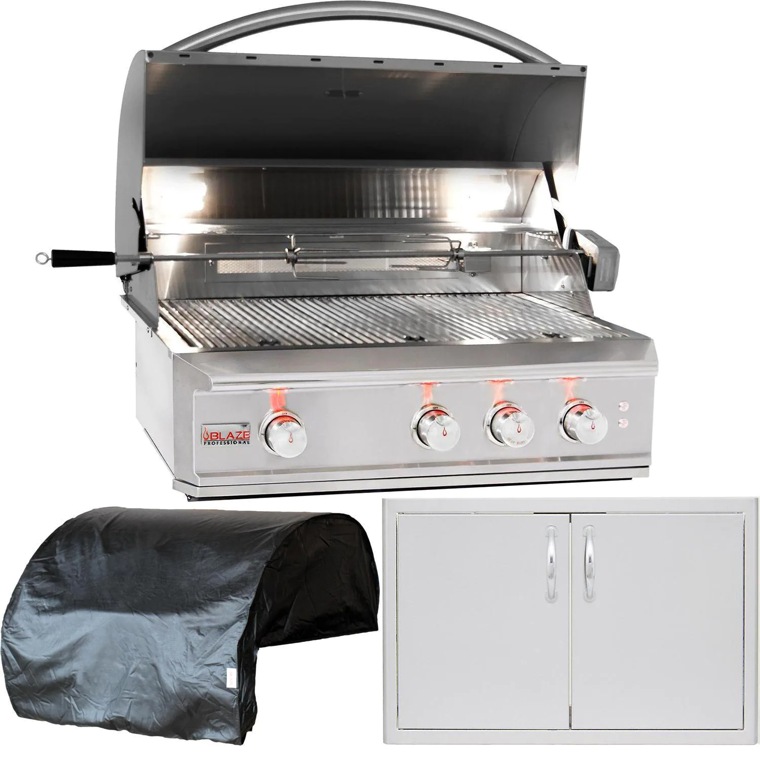 """Blaze Professional LUX 3-Piece 34"""" Natural Gas Outdoor Kitchen Package"""