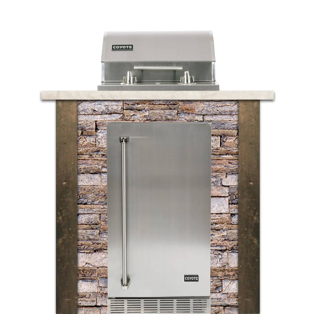 Coyote Ready-To-Assemble 3 Ft Outdoor Kitchen Island With 18-Inch Electric Grill And Right Hinge Refrigerator - Stacked Stone/Brown Terra - RTAC-E3F-SB-C1EL120SM-R