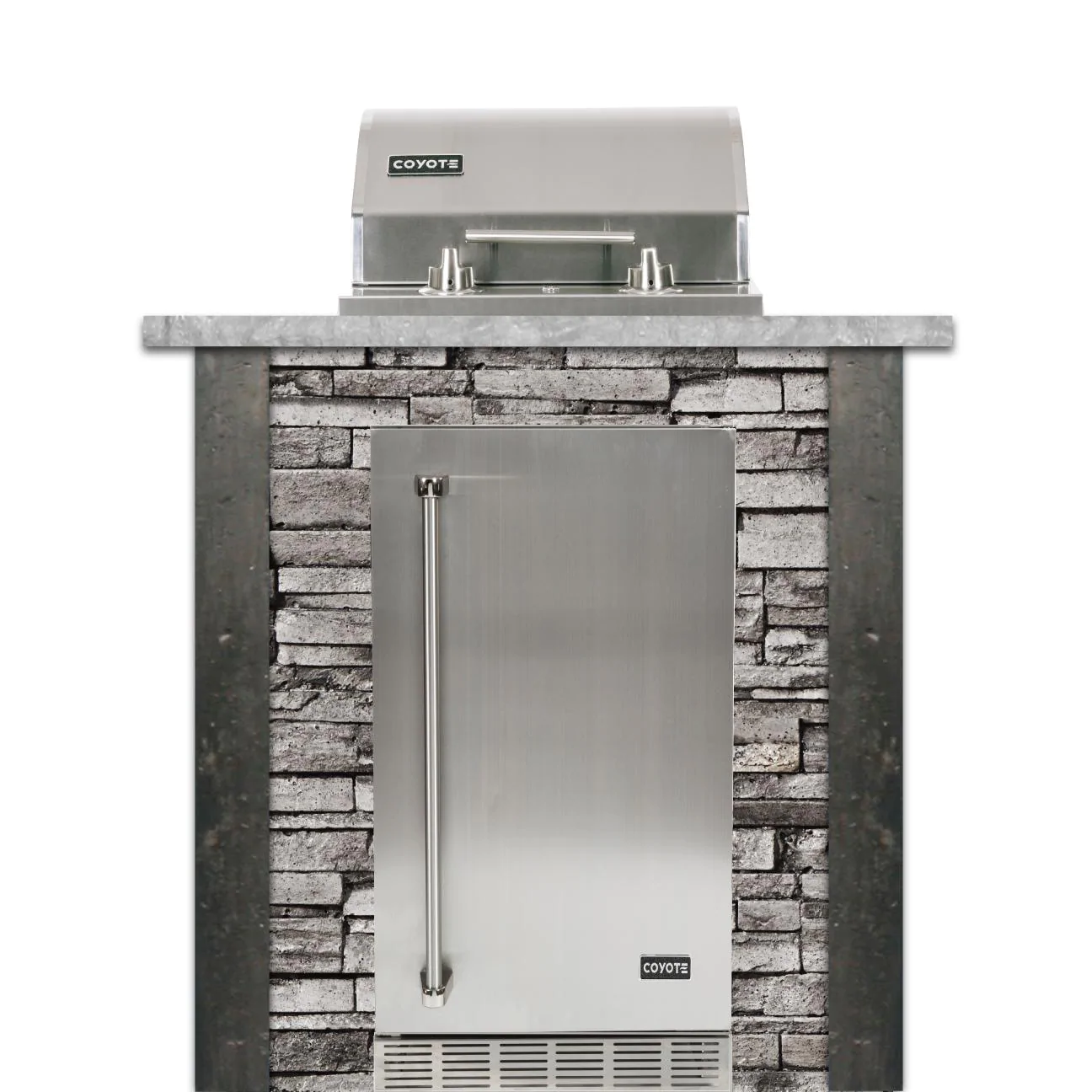 Coyote Ready-To-Assemble 3 Ft Outdoor Kitchen Island With 18-Inch Electric Grill And Right Hinge Refrigerator - Stacked Stone/Stone Gray - RTAC-E3F-SG-C1EL120SM-R