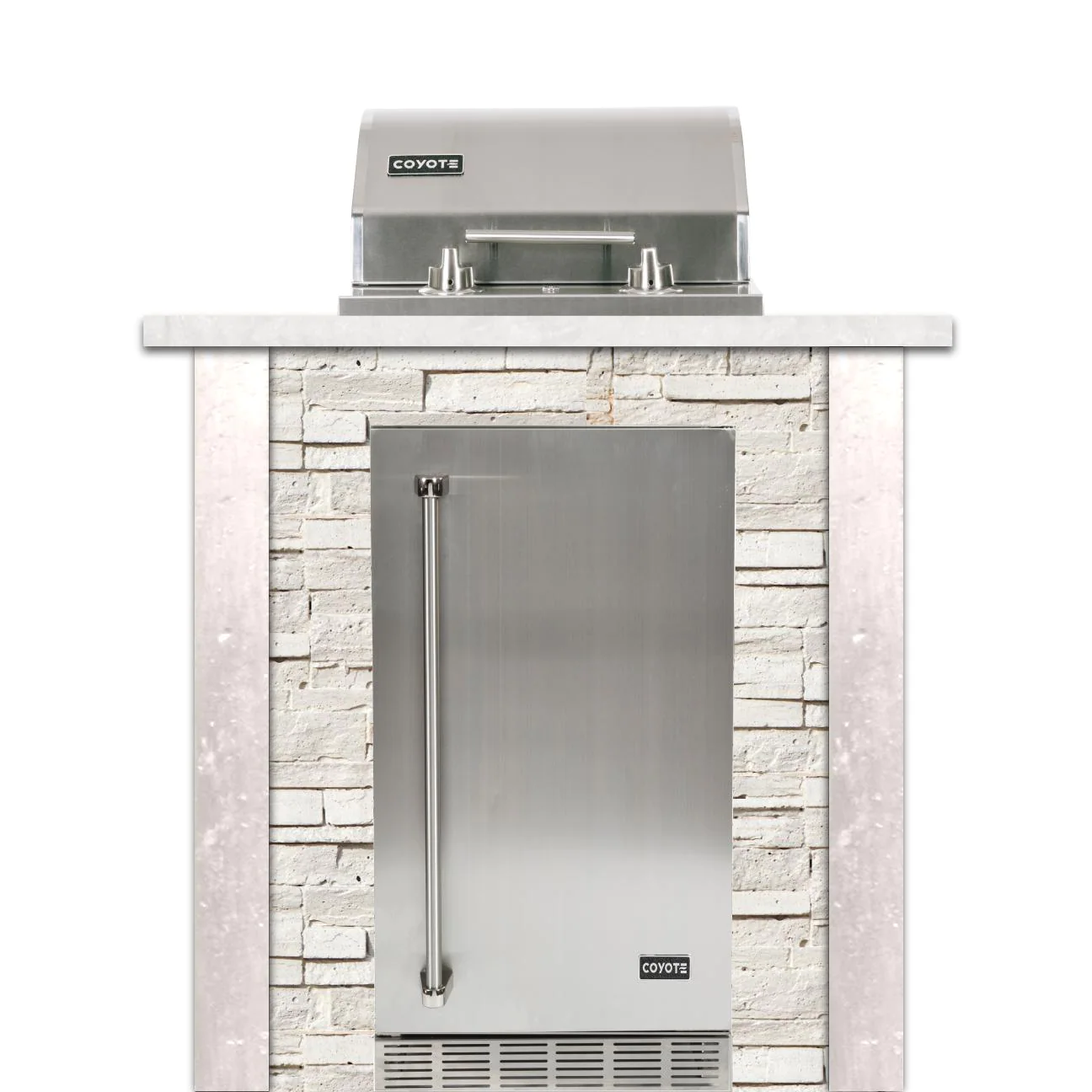 Coyote Ready-To-Assemble 3 Ft Outdoor Kitchen Island With 18-Inch Electric Grill And Right Hinge Refrigerator - Stacked Stone/Modern White - RTAC-E3F-SW-C1EL120SM-R