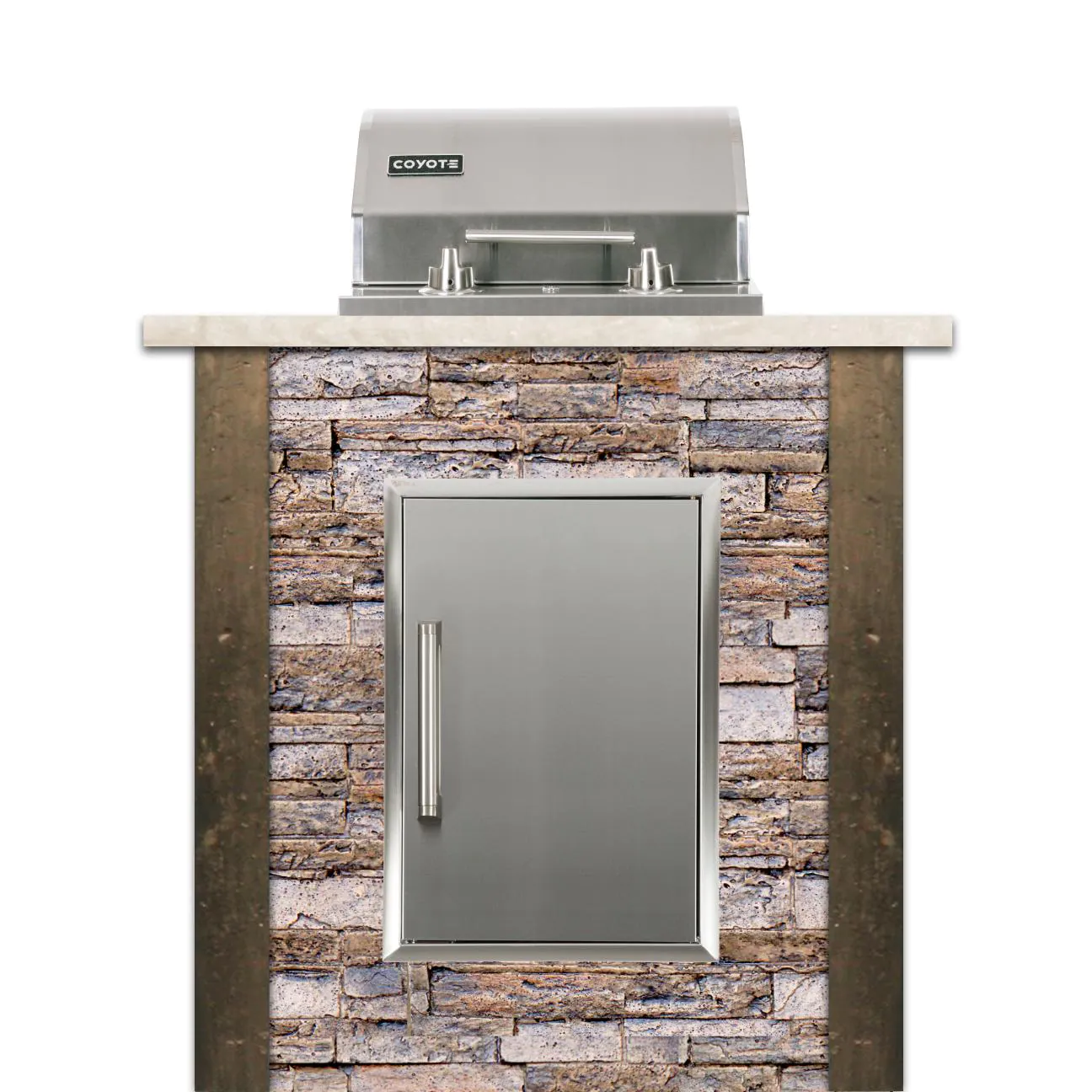 Coyote Ready-To-Assemble 3 Ft Outdoor Kitchen Island With 18-Inch Electric Grill And Access Door - Stacked Stone/Brown Terra - RTAC-E3S-SB-C1EL120SM