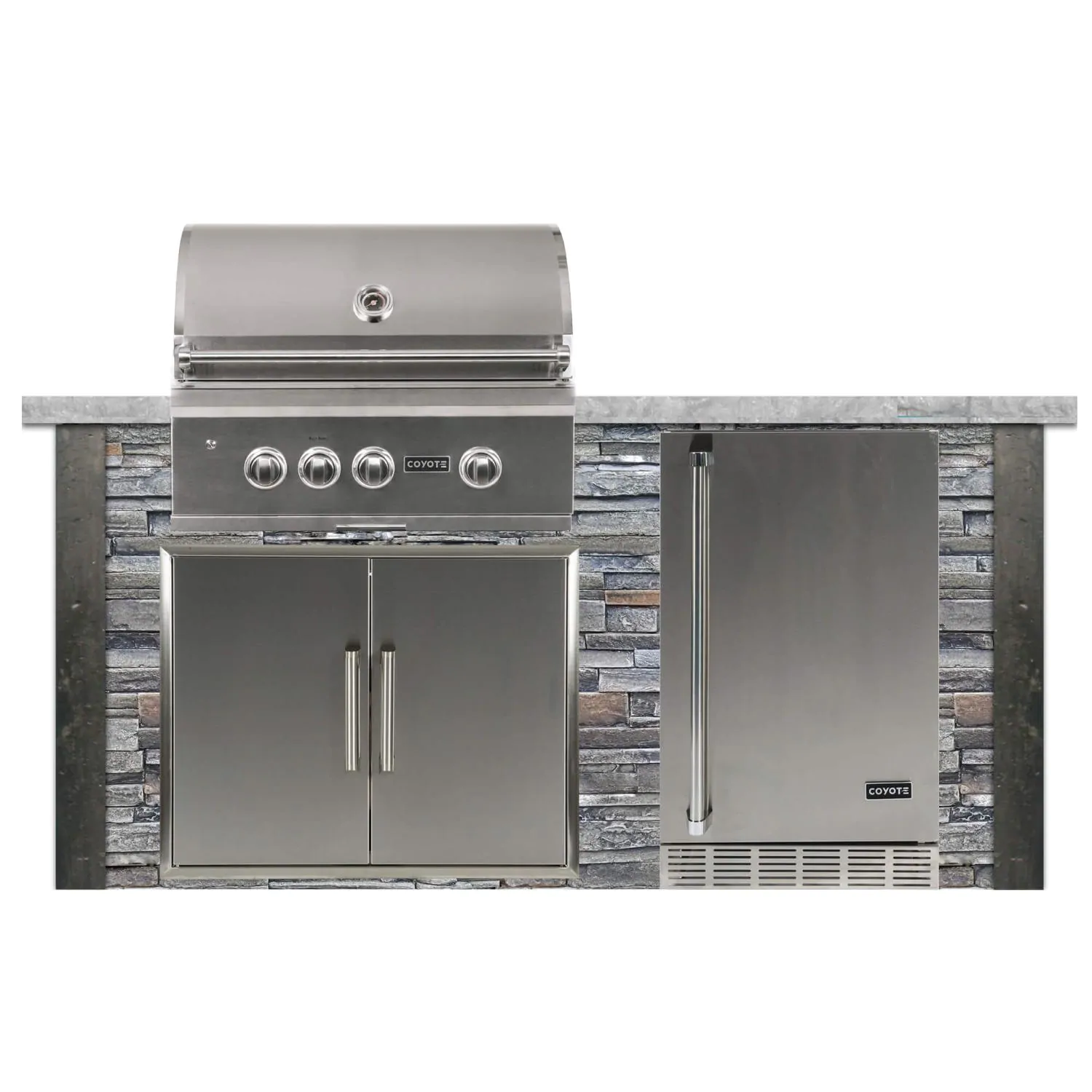 Coyote Ready-To-Assemble 6 Ft Outdoor Kitchen Island With 30-Inch S Series Propane Gas Grill - Stacked Stone/Stone Gray - RTAC-G6-P-SG-C2SL30LP