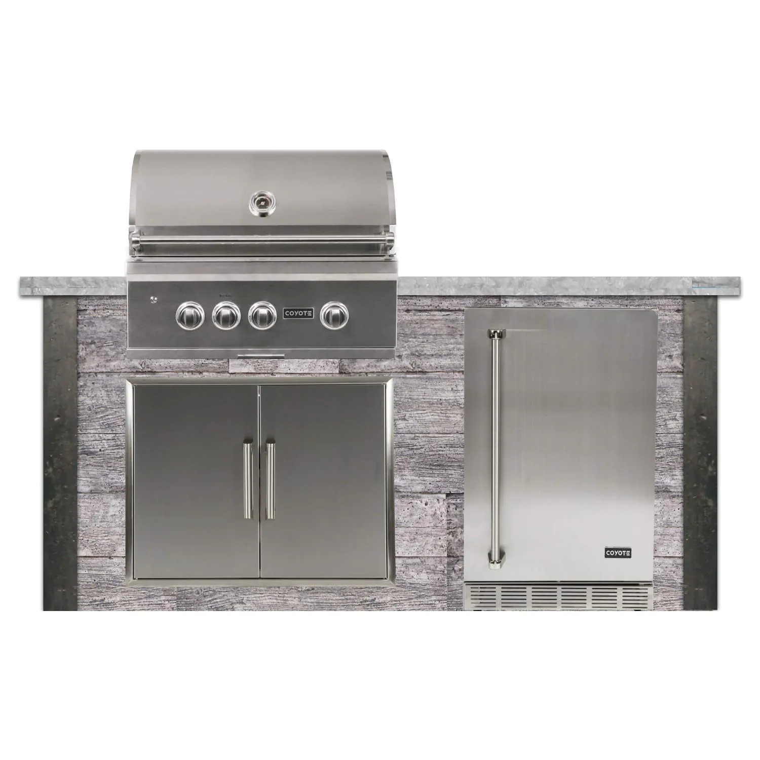 Coyote Ready-To-Assemble 6 Ft Outdoor Kitchen Island With 30-Inch S Series Natural Gas Grill (Ships As Propane With Conversion Fittings) - Weathered Wood/Stone Gray - RTAC-G6-P-WG-C2SL30NG
