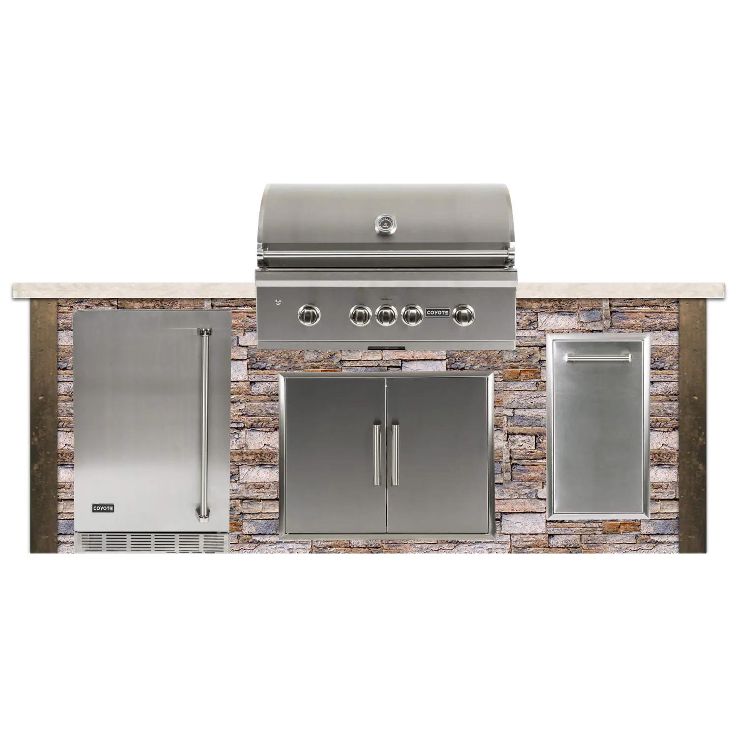 Coyote Ready-To-Assemble 8 Ft Outdoor Kitchen Island With 36-Inch S-Series Natural Gas Grill (Ships As Propane With Conversion Fittings) - Stacked Stone/Brown Terra - RTAC-G8-SB-C2SL36NG
