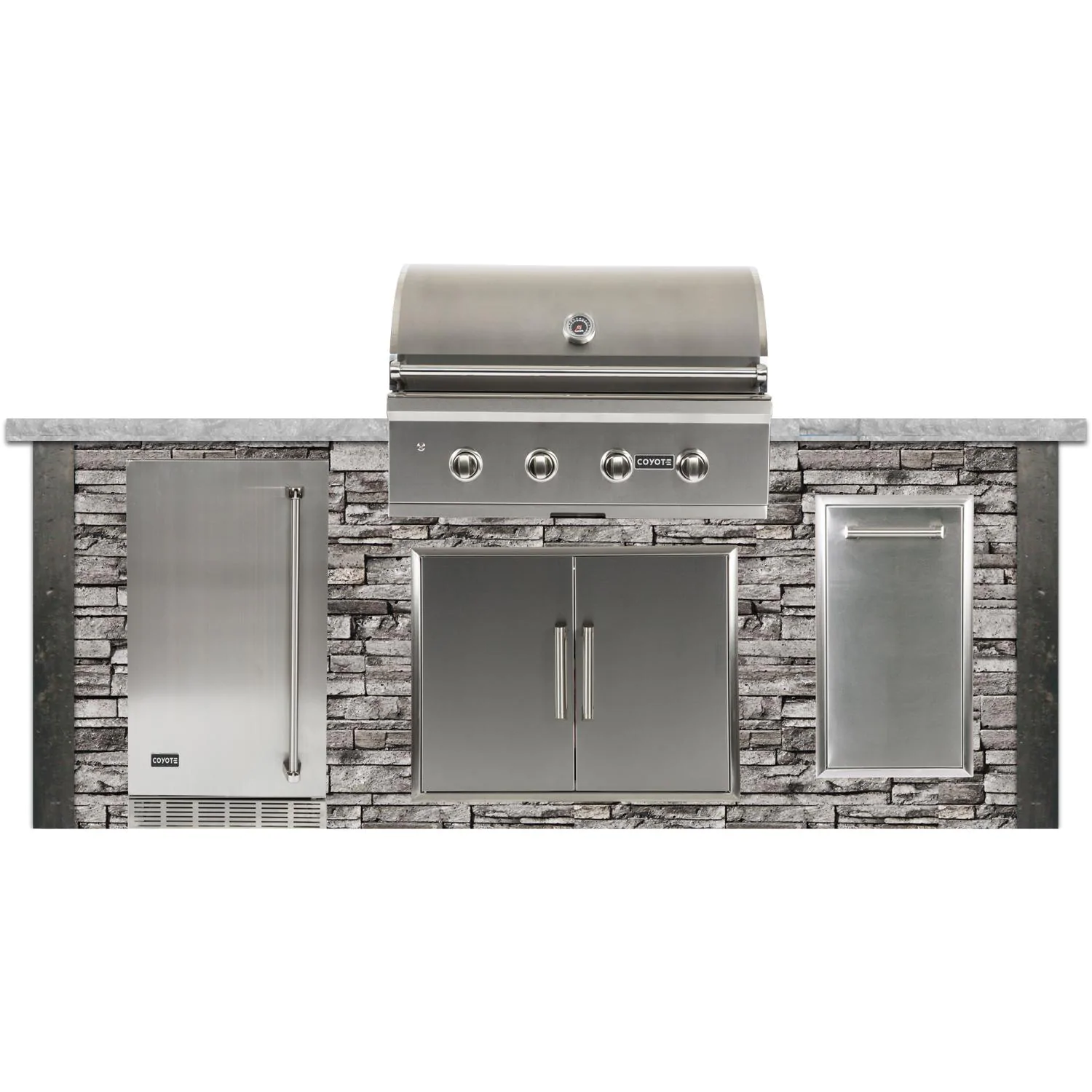 Coyote Ready-To-Assemble 8 Ft Outdoor Kitchen Island With 36-Inch C-Series Natural Gas Grill (Ships As Propane With Conversion Fittings) - Stacked Stone/Stone Gray - RTAC-G8-SG-C2C36NG
