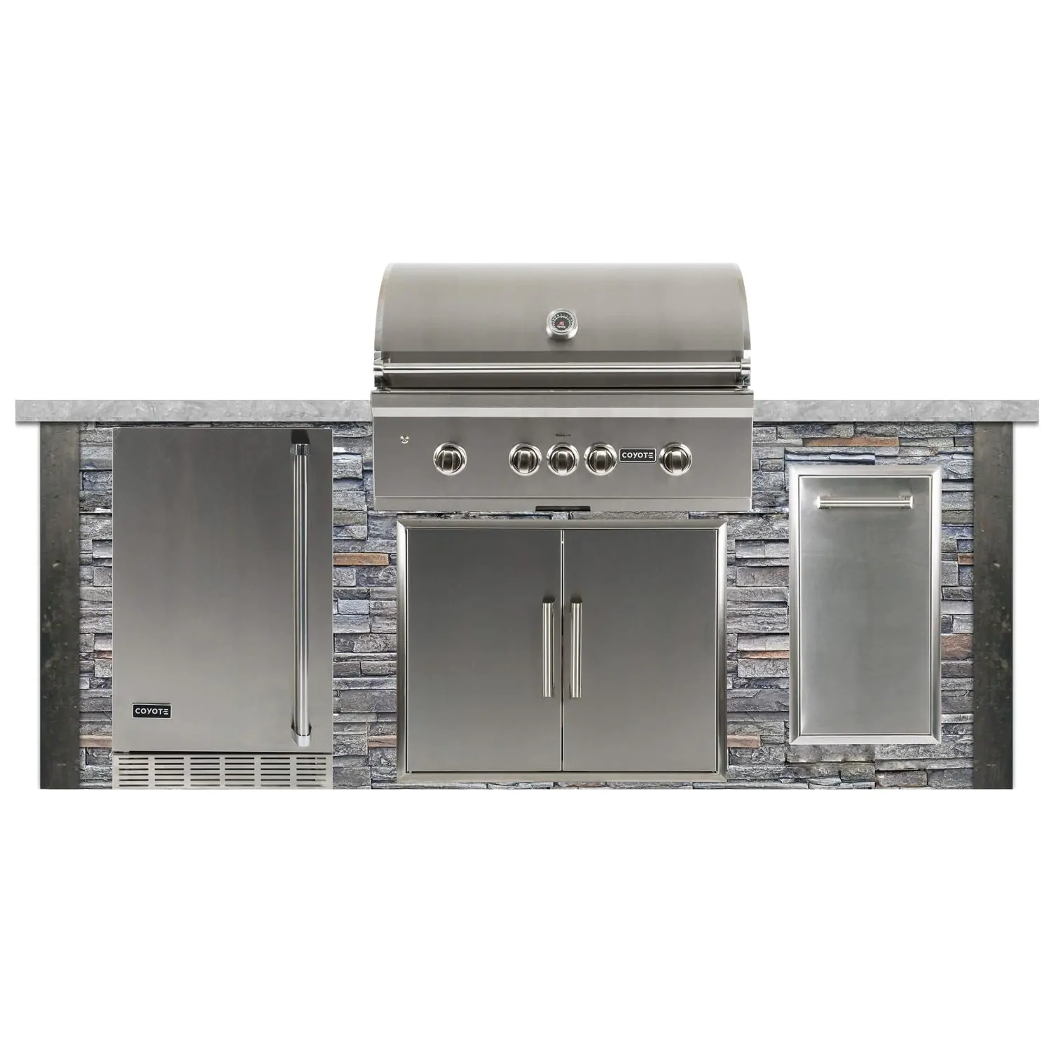 Coyote Ready-To-Assemble 8 Ft Outdoor Kitchen Island With 36-Inch S-Series Natural Gas Grill (Ships As Propane With Conversion Fittings) - Stacked Stone/Stone Gray - RTAC-G8-SG-C2SL36NG