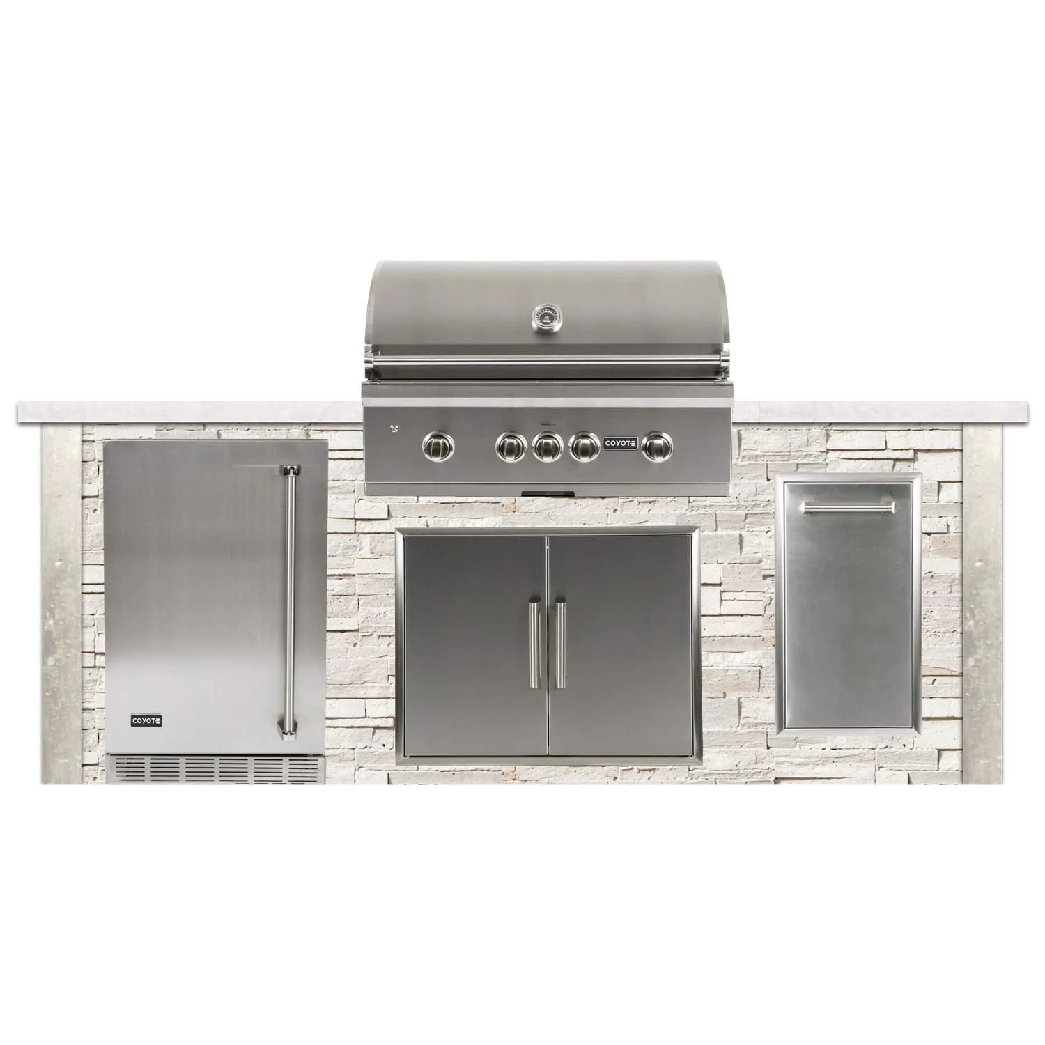 Coyote Ready-To-Assemble 8 Ft Outdoor Kitchen Island With 36-Inch S-Series Natural Gas Grill (Ships As Propane With Conversion Fittings) - Stacked Stone/Modern White - RTAC-G8-SW-C2SL36NG