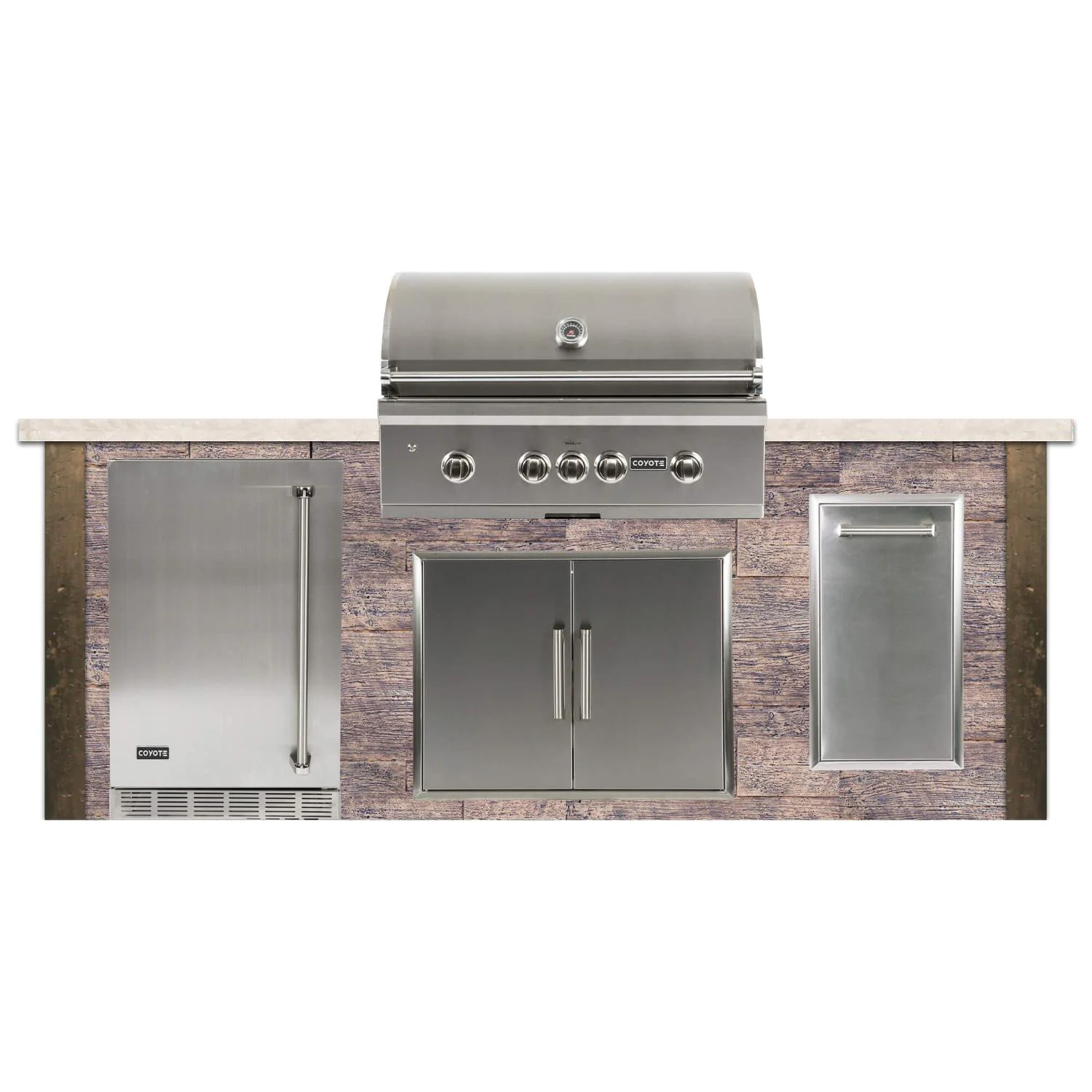 Coyote Ready-To-Assemble 8 Ft Outdoor Kitchen Island With 36-Inch S-Series Natural Gas Grill (Ships As Propane With Conversion Fittings) - Weathered Wood/Brown Terra - RTAC-G8-WB-C2SL36NG