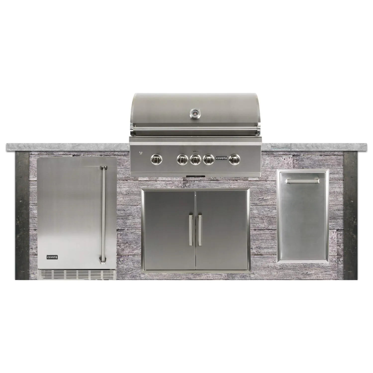 Coyote Ready-To-Assemble 8 Ft Outdoor Kitchen Island With 36-Inch S-Series Natural Gas Grill (Ships As Propane With Conversion Fittings) - Weathered Wood/Stone Gray - RTAC-G8-WG-C2SL36NG