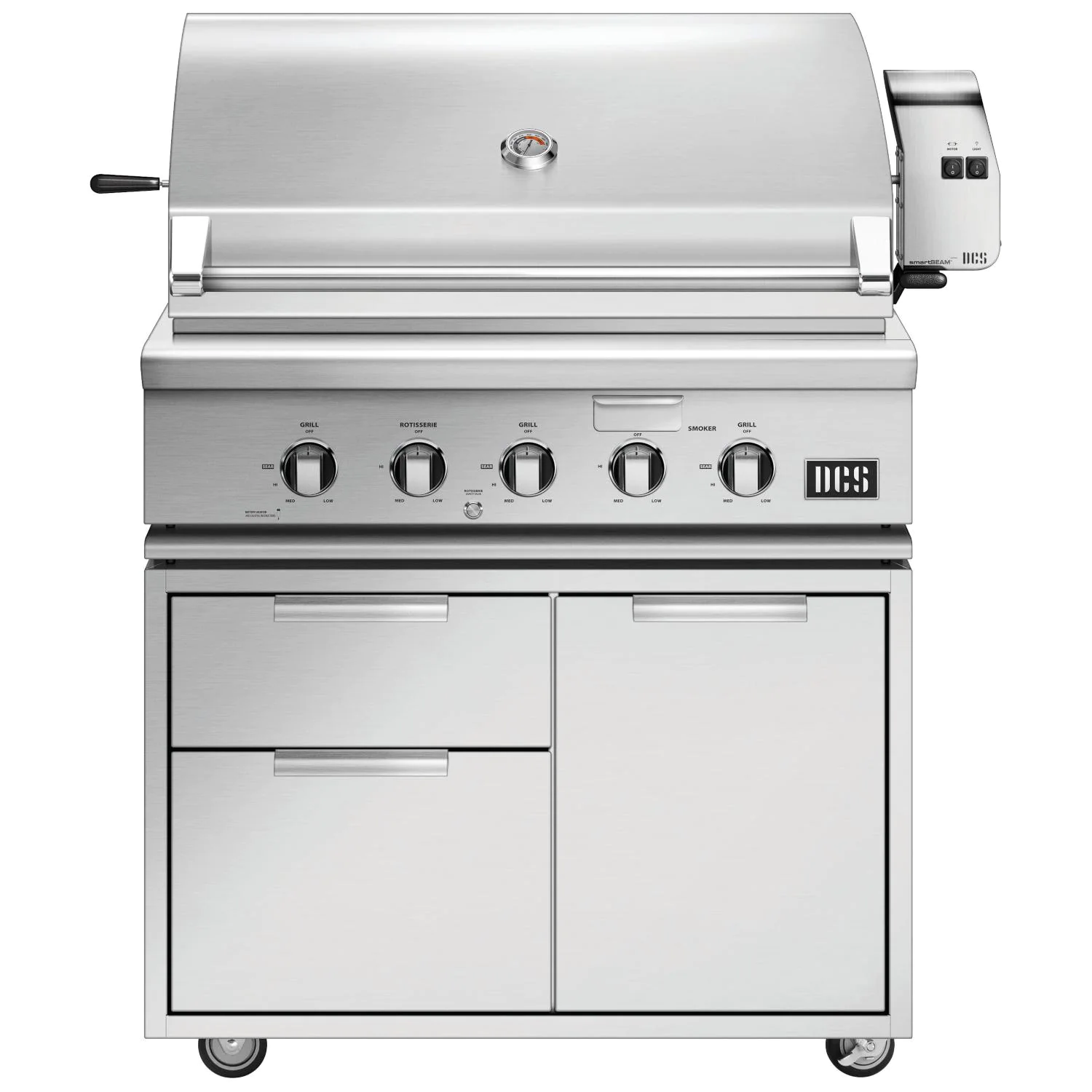 DCS Series 7 Traditional 36-Inch Propane Gas Grill With Rotisserie On DCS CAD Cart - bh1-36r-l+cad1-36
