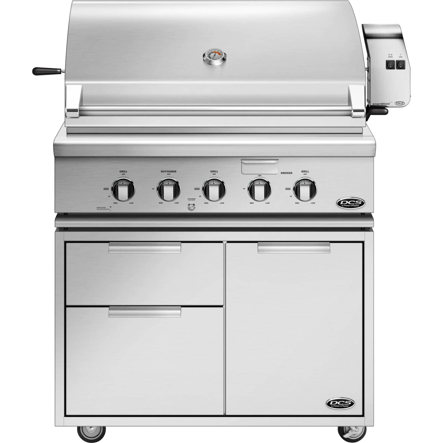 DCS Series 7 Traditional 36-Inch Natural Gas Grill With Rotisserie On DCS CAD Cart - bh1-36r-n+cad1-36
