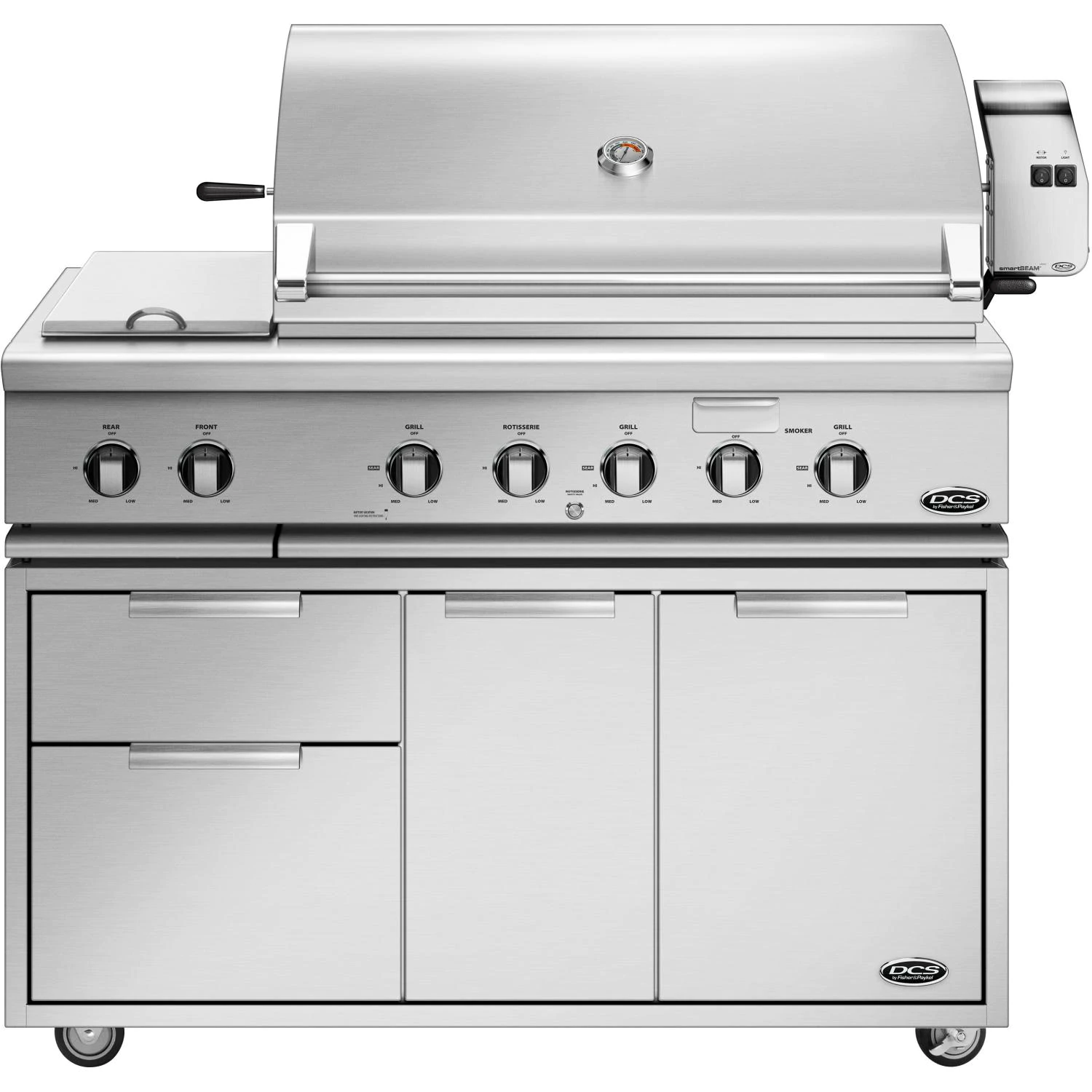 """DCS Series 7 Traditional 48"""" Propane Gas Grill With Double Side Burner & Rotisserie On DCS CAD Cart - bh1-48r-l+cad1-48"""