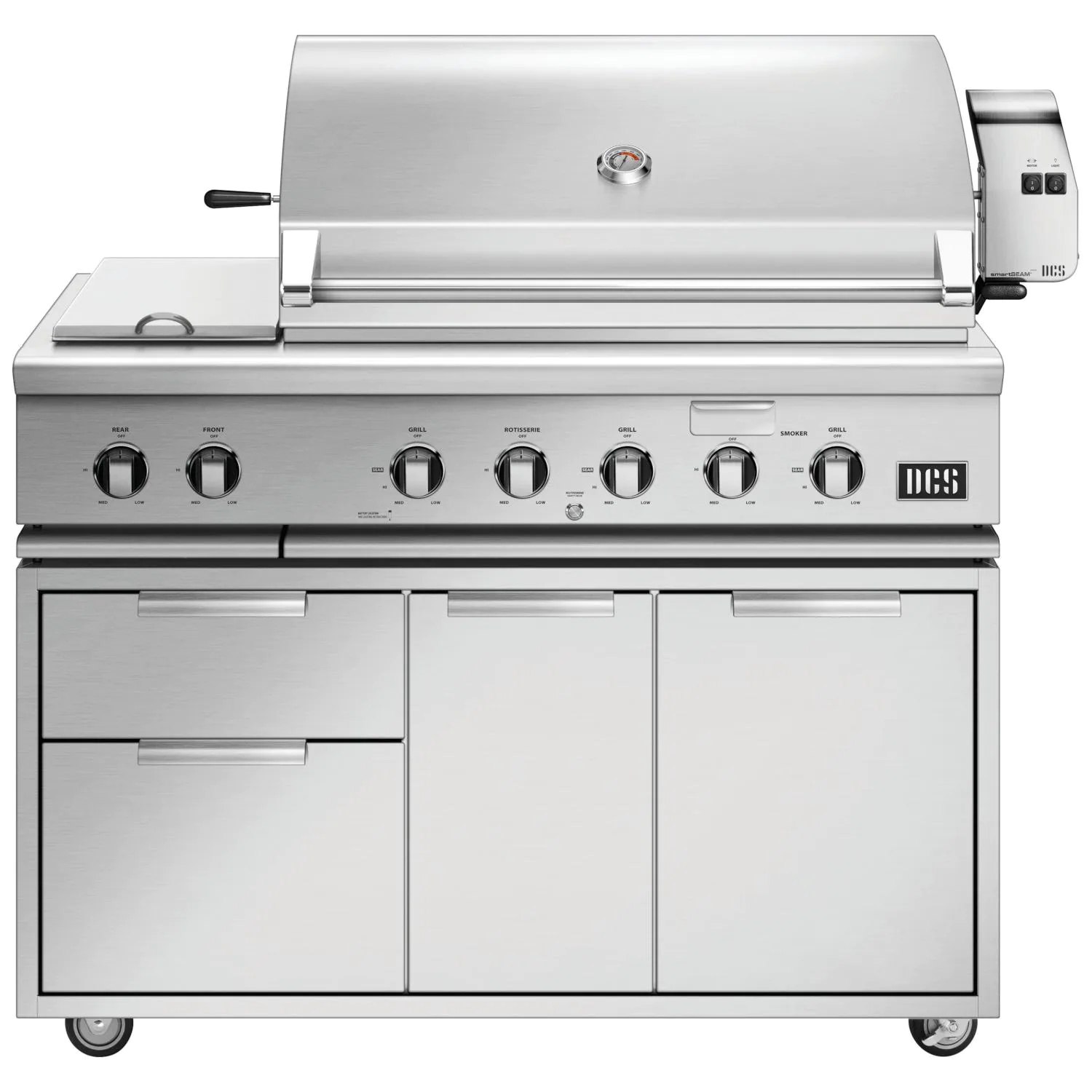 DCS Series 7 Traditional 48-Inch Natural Gas Grill With Double Side Burner & Rotisserie On DCS CAD Cart - bh1-48rs-n+cad1-48