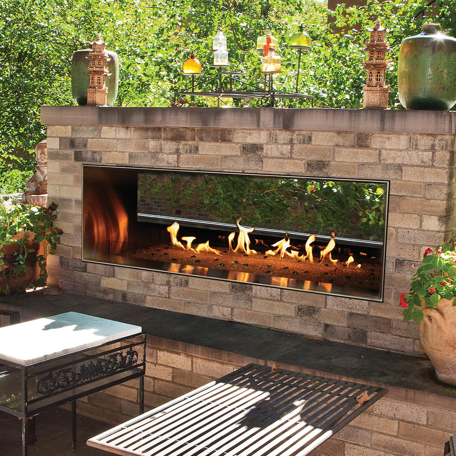 """White Mountain Hearth By Empire Carol Rose 60"""" Vent Free Propane Gas Outdoor Linear See-Through Fireplace W/ Manual Electronic Ignition & LED Light System - OLL60SP12SP"""