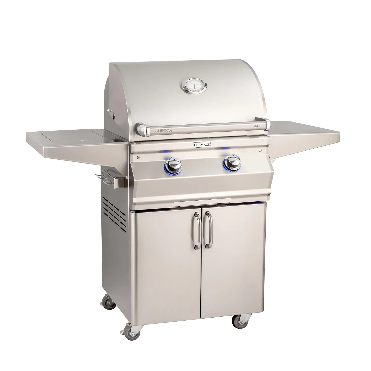 """Fire Magic A430S-7EAN-62 Aurora A430S 24"""" Freestanding Natural Gas Grill With Side Burner  Analog Thermometer"""