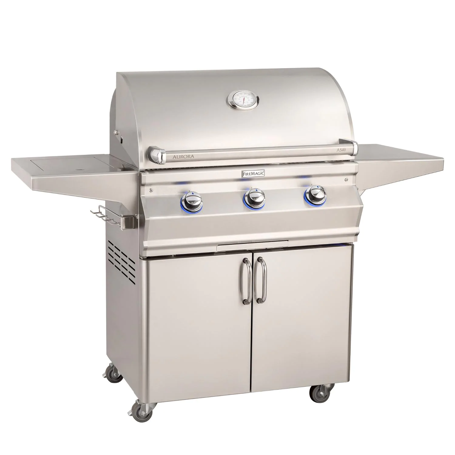 """Fire Magic A540S-7EAN-62 Aurora A540S 30"""" Freestanding Natural Gas Grill With Side Burner  Analog Thermometer"""