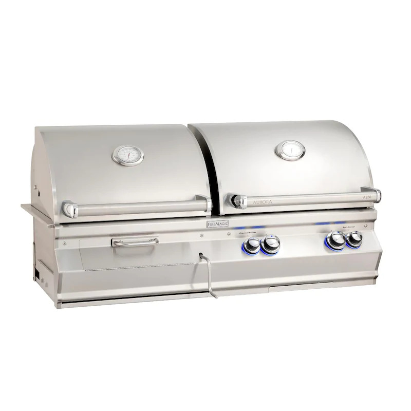 """Fire Magic A830I-7EAN-CB Aurora A830I 24"""" Built In Natural Gas & Charcoal Combo Grill With Analog Thermometer"""