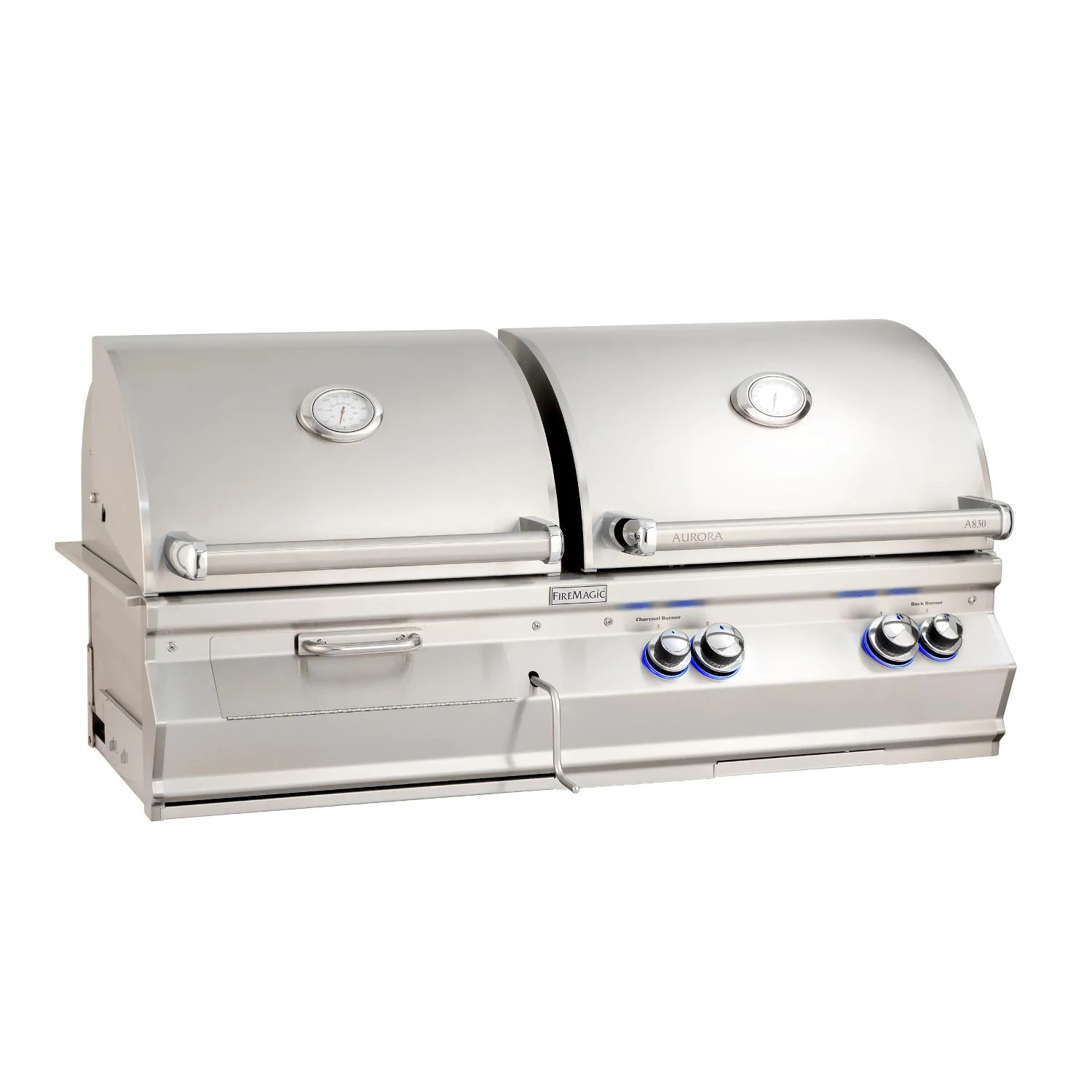 """Fire Magic A830I-8EAN-CB Aurora A830I 24"""" Built In Natural Gas & Charcoal Combo Grill With Analog Thermometer"""