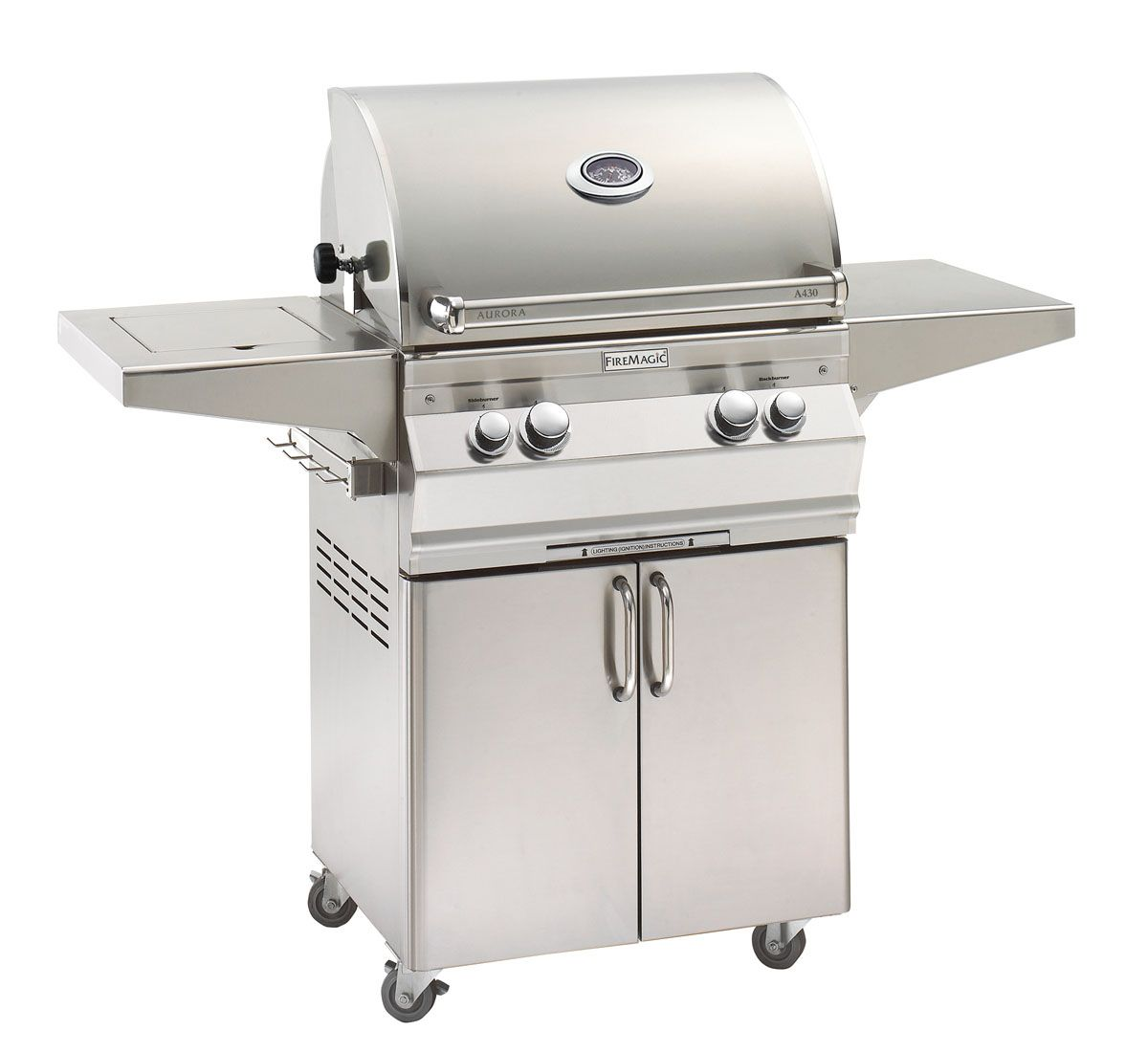 """Fire Magic A430S-8LAP-62 Aurora A430S 24"""" Freestanding Propane Gas Grill With Side Burner  One Infrared Burner Rotisserie And Analog Thermometer"""