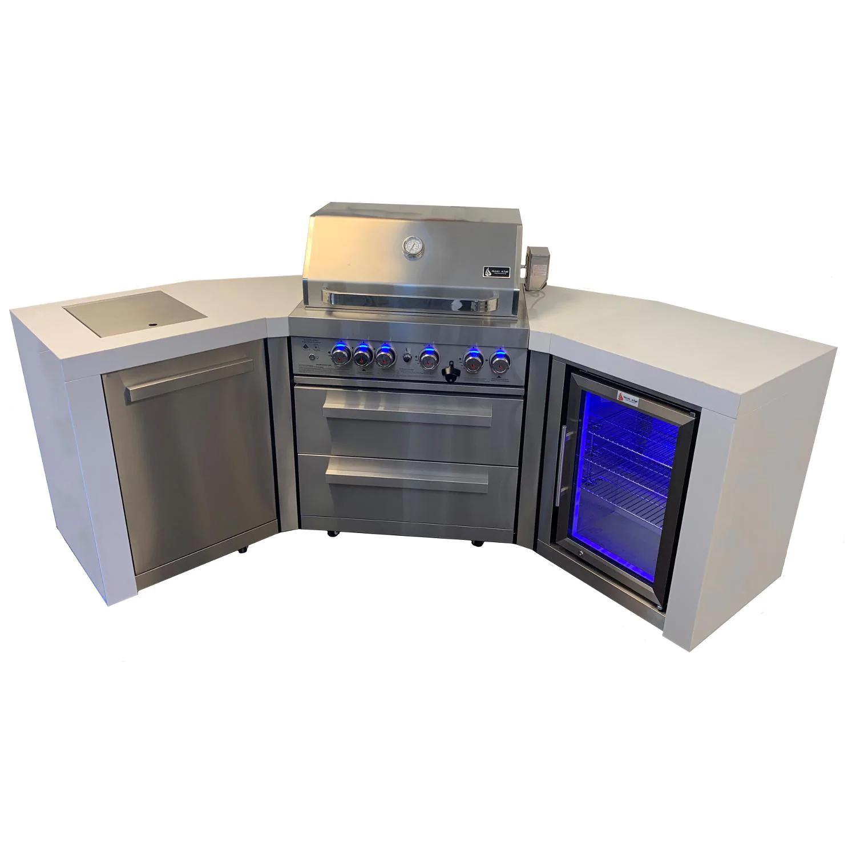 Mont Alpi 400 Deluxe 45 Degree Propane Gas Island Grill W/ Refrigerator Cabinet, Infrared Side Burner, & Rotisserie Kit - MAi400-D45FC