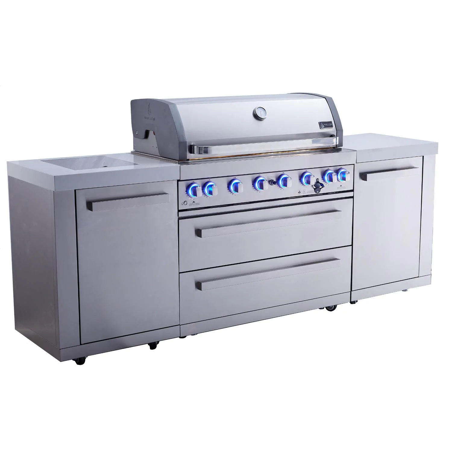 Mont Alpi 805 Propane Gas Island Grill W/ Infrared Side Burner - Stainless Steel - MAi805