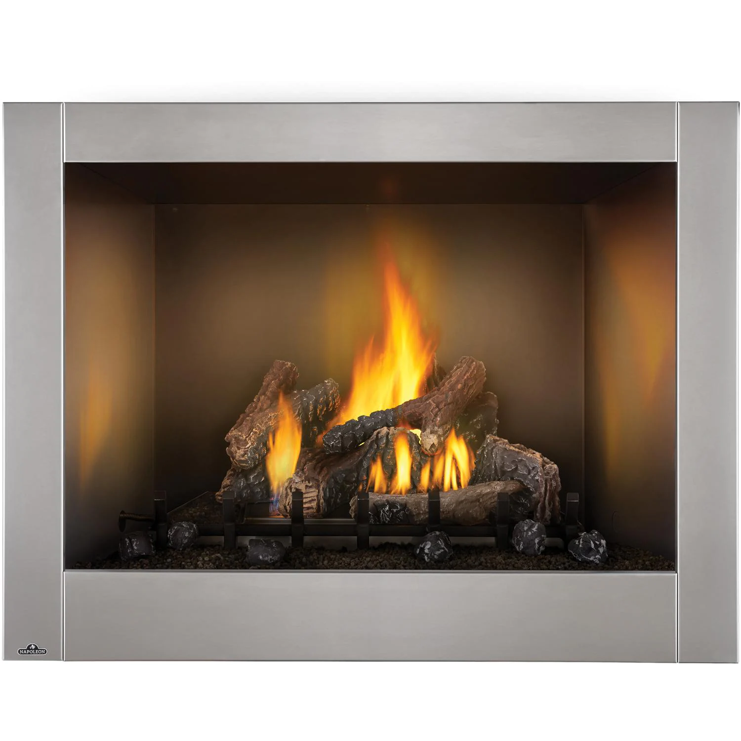 """Napoleon Riverside Clean Face 47"""" Outdoor Built-In Natural Gas Fireplace W/ Millivolt Ignition And Brushed Stainless Steel Face - GSS42CFN"""