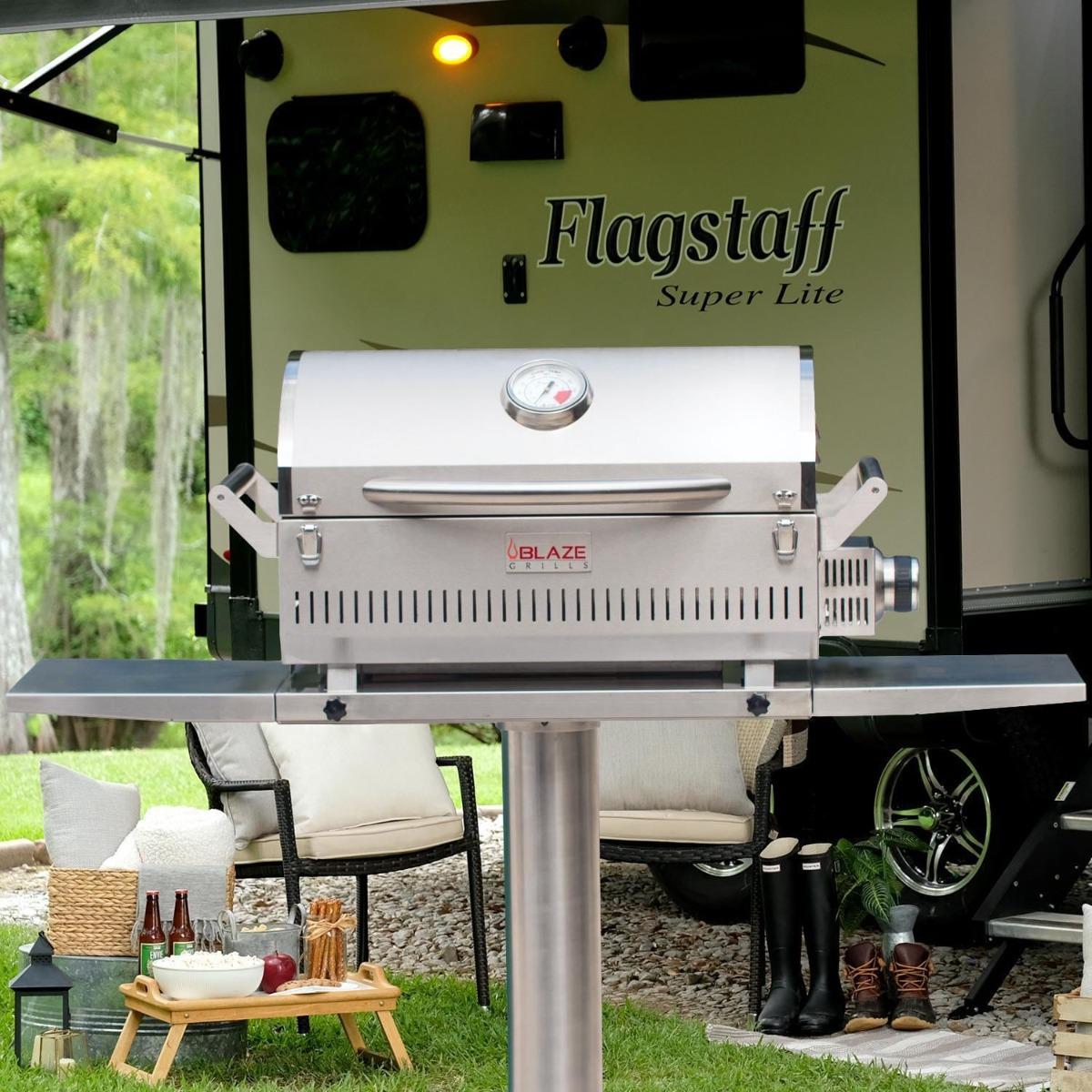Blaze Professional LUX Portable Propane Gas Grill On Pedestal With Side Shelves - blz-1pro-prt-lp+blz-prtped-17+blz-prtped-ss