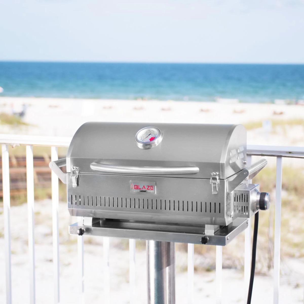 Blaze Professional LUX Marine Grade Portable Propane Gas Grill On Pedestal - blz-1pro-prtmg-lp+blz-prtped-mg10