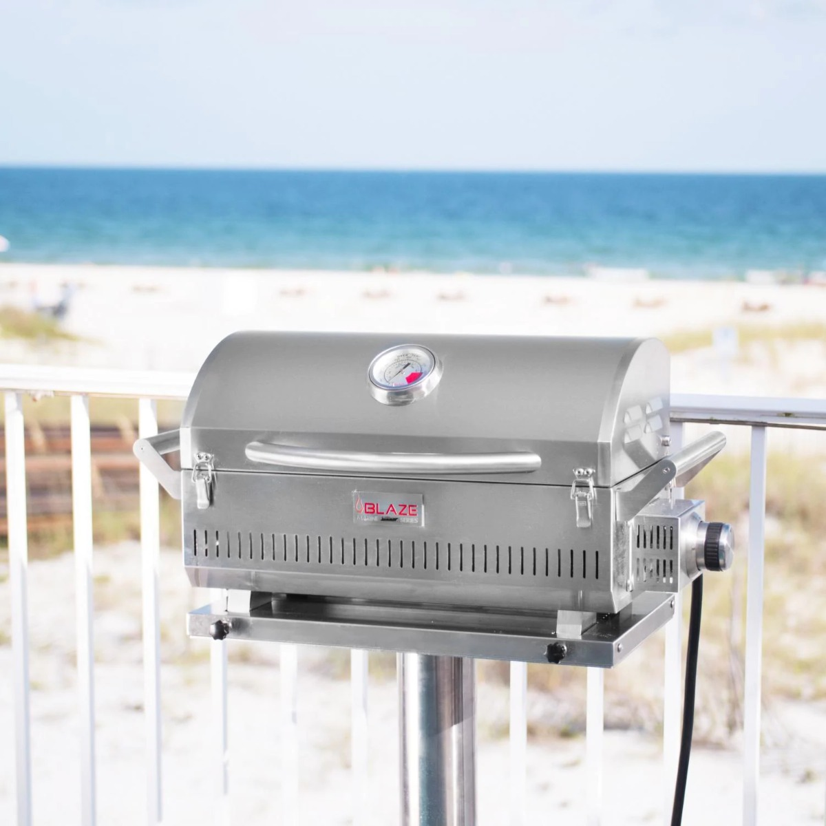 Blaze Professional LUX Marine Grade Portable Propane Gas Grill On Pedestal With Side Shelves - blz-1pro-prtmg-lp+blz-prtped-mg10+blz-prtped-mgss