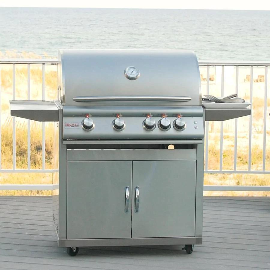Blaze Premium LTE 32-Inch 4-Burner Freestanding Propane Grill in Marine Grade with Rotisserie, Rear Infrared Burner & Grill Lights - blz-4lte2-lp-mg-rt+blz-4-cart
