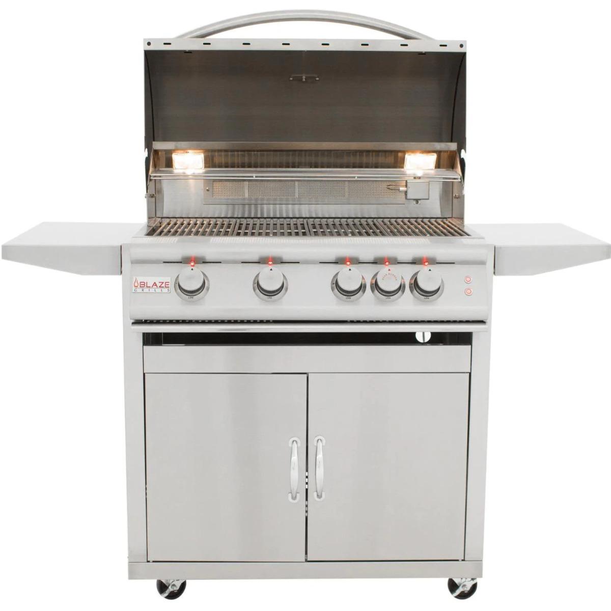 Blaze Premium LTE 32-Inch 4-Burner Freestanding Propane Grill with Rotisserie, Rear Infrared Burner & Grill Lights - blz-4lte2-lp-rt+blz-4-cart
