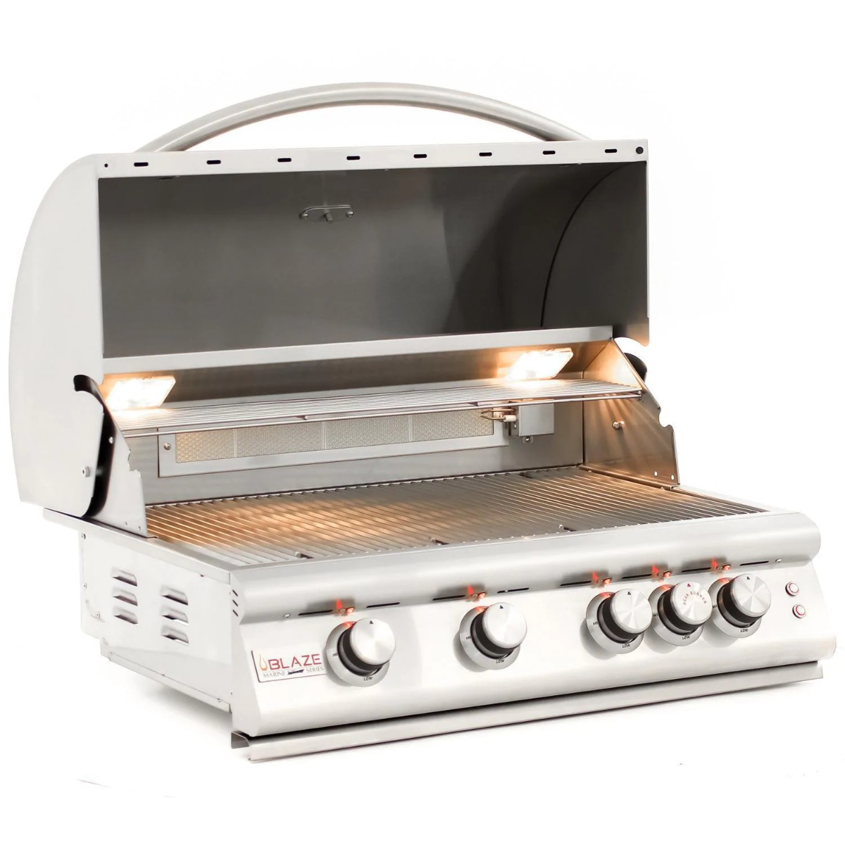 Blaze Premium LTE 32-Inch 4-Burner Built-In Natural Gas Grill in Marine Grade With Rear Infrared Burner & Grill Lights - blz-4lte2-ng-mg