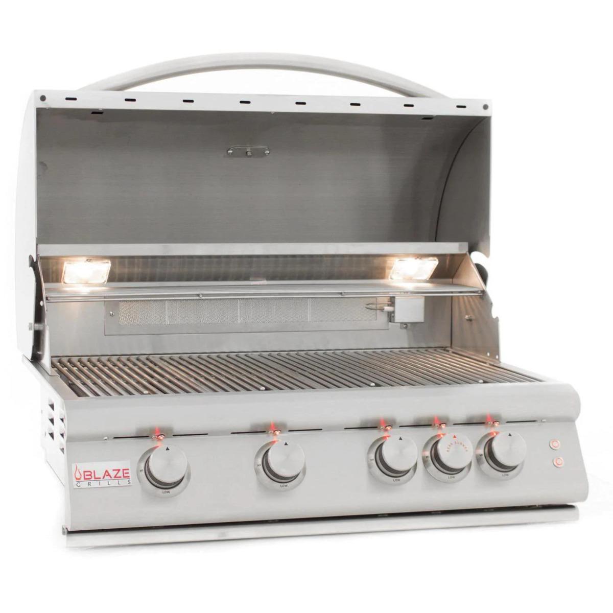 Blaze Premium LTE 32-Inch 4-Burner Built-In Natural Gas Grill With Rear Infrared Burner & Grill Lights - blz-4lte2-ng