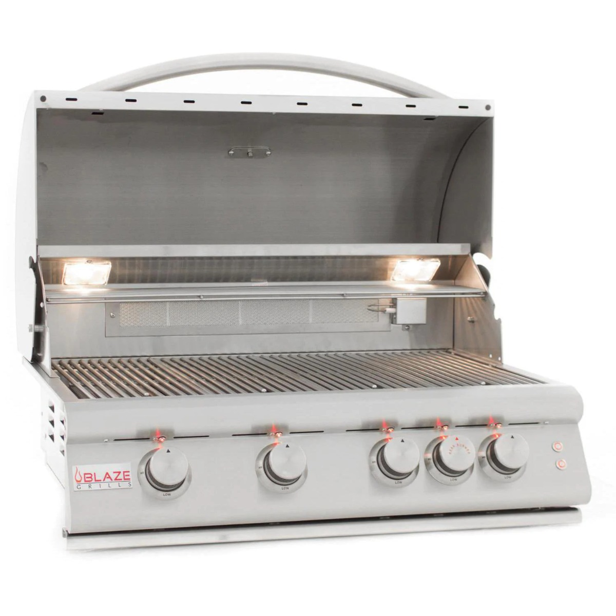 Blaze Premium LTE 32-Inch 4-Burner Built-In Natural Gas Grill with Rotisserie, Rear Infrared Burner & Grill Lights - blz-4lte2-ng-rt