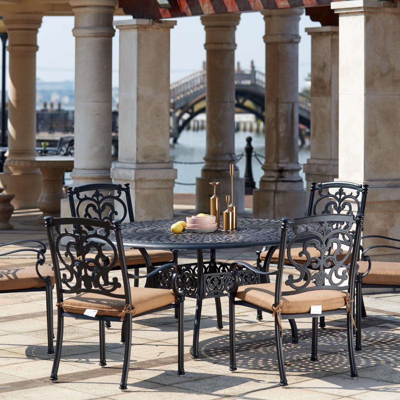 KB Santa Barbara 7 Piece Cast Aluminum Patio Dining Set With Round Table - Antique Bronze