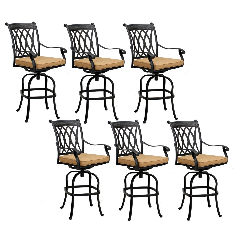 Capri 6 Piece Cast Aluminum Patio Swivel Bar Stool Set W/ Sesame Polyester Cushions By KB