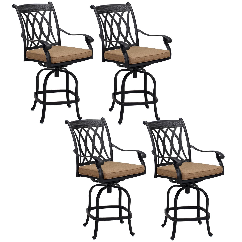 Capri 4 Piece Cast Aluminum Patio Counter Height Swivel Bar Stool Set W/ Sesame Polyester Cushions By KB