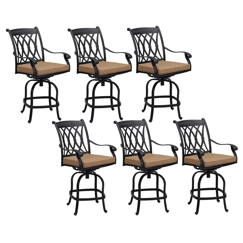Capri 6 Piece Cast Aluminum Patio Counter Height Swivel Bar Stool Set W/ Sesame Polyester Cushions By KB