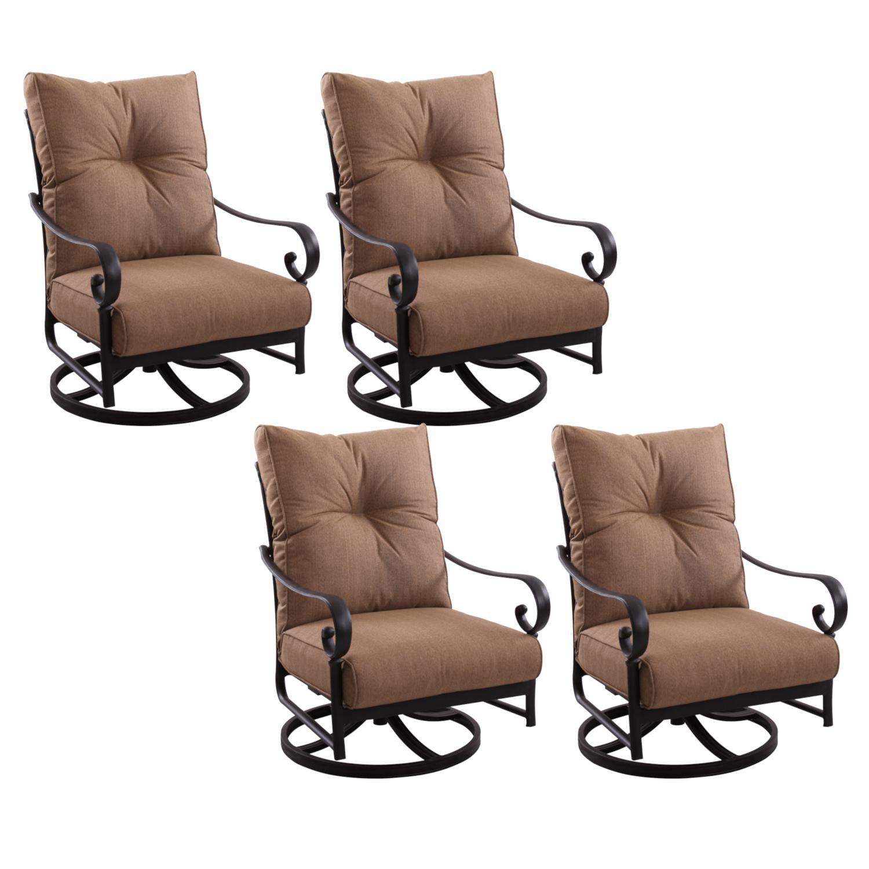 KB Santa Anita 4 Piece Cast Aluminum Patio Swivel Rocker Club Chair Set W/ Sesame Cushions