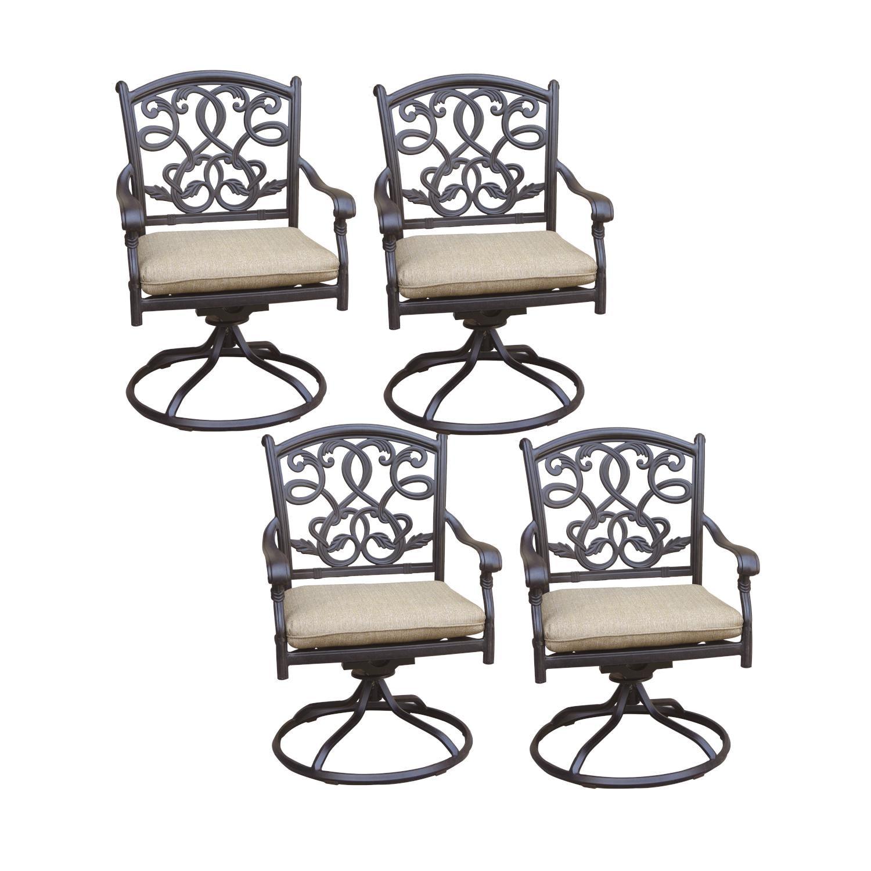 KB Santa Monica 4 Piece Cast Aluminum Patio Swivel Rocker Dining Chair Set W/ Sesame Cushions