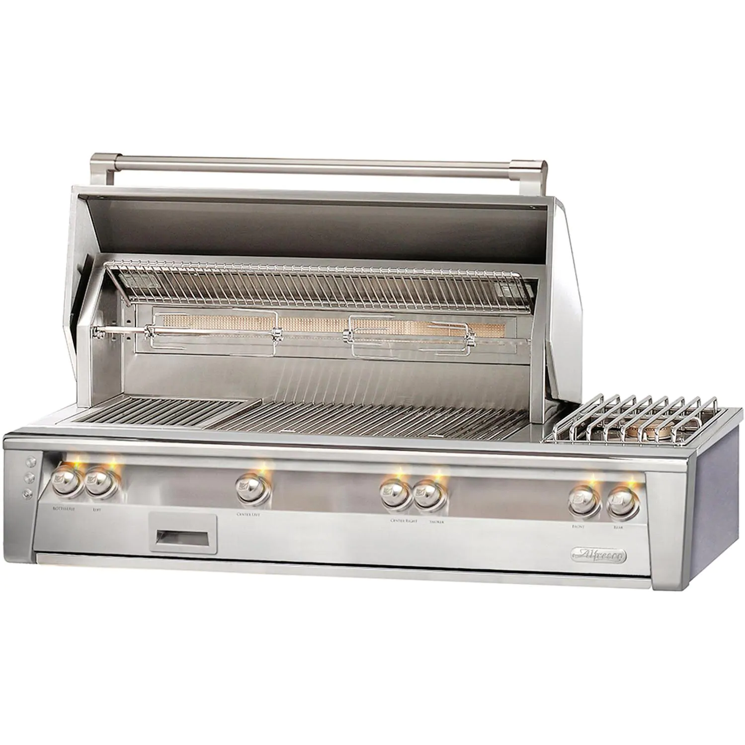 """Alfresco ALXE 56"""" Built-In Natural Gas Deluxe Grill With Sear Zone, Rotisserie, And Side Burner - ALXE-56SZ-NG"""